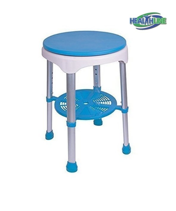 Bath Bench Round Stool With Padded Rotating Seat, White with Blue Seat