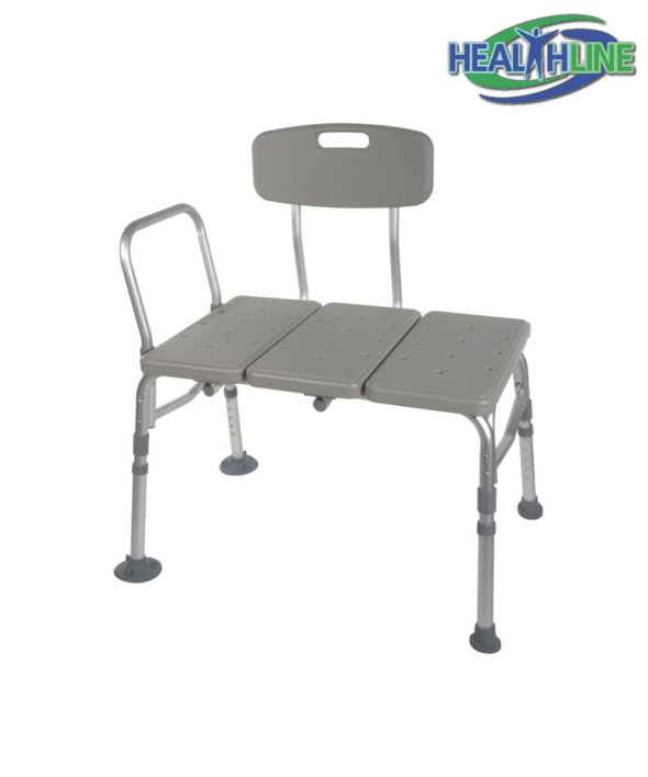 Transfer Bench Adjustable Height Legs, Lightweight with Back Non-slip Seat