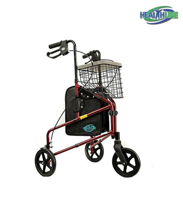 Three Wheel Rollator with Handle Breaks and a Pouch