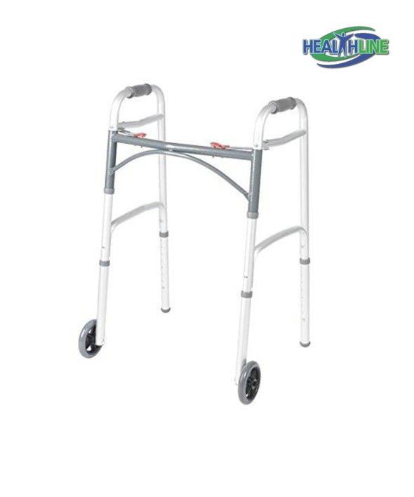 Folding Walker Deluxe w/ Front 5″ Wheels and Glides