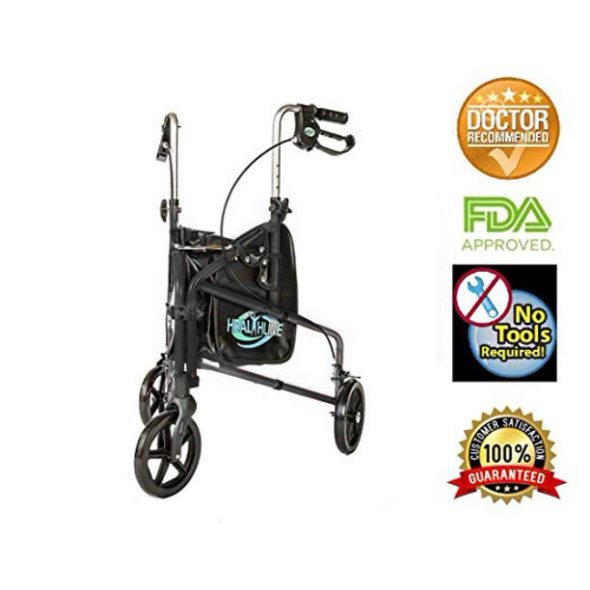 3 Wheel Rollator Walker With Basket, Tray, and Pouch, Medical Walker Mobility Folding Rollator, Three Wheel Walker Lightweight Aluminum Rollator for Seniors, Elderly, Adults, Disabled, Black